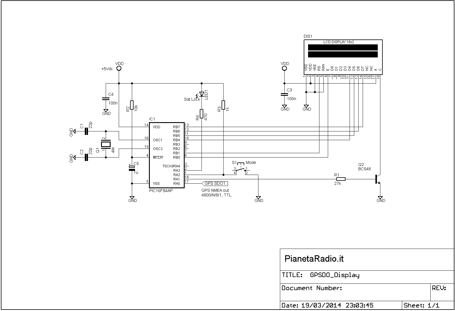 GPSDO Display - Schema elettrico