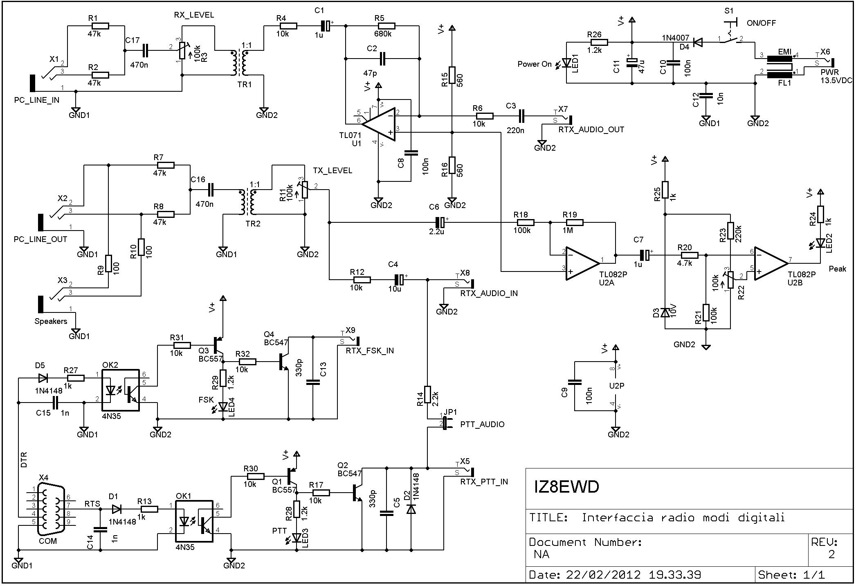 Interfaccia radio modi digitali - Schema elettrico