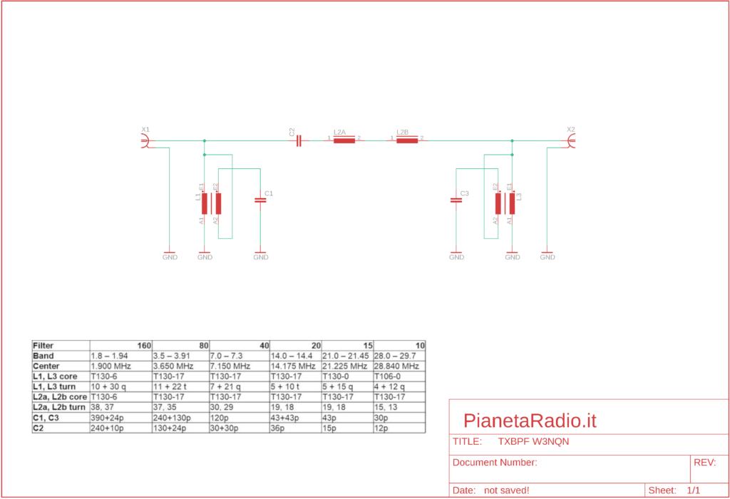TX bandpass filter - Schema elettrico