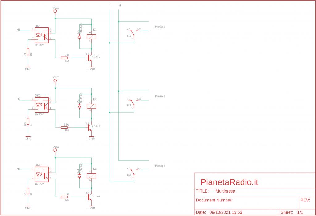 Multipresa web - Schema elettrico